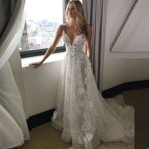 Lace Boho Wedding Dresses  Spaghetti Straps V-neck Wedding Gowns Beach Bride Dress Vestido De Noiva - LiveTrendsX