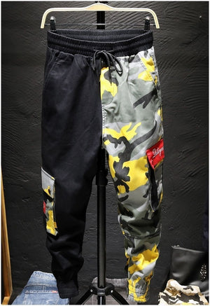 Cargo Pants Camouflage Men Patchwork Hip hop Loose Joggers Pocket Streetwear Ankle length Trousers Techwear - LiveTrendsX