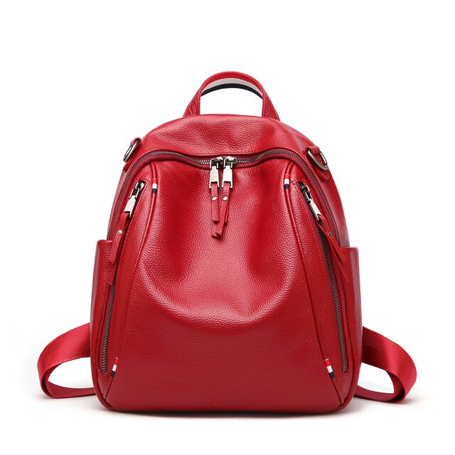 New Fashion Black Blue Red Genuine Leather Cute Women Backpacks Female Girl Backpack Lady Travel Bag Shoulder Bags M0977 - LiveTrendsX