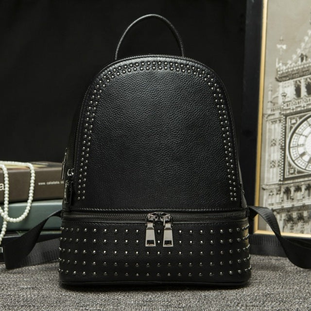 New Fashion Rivet Women Backpack Ladies Backpack Genuine Leather Casual Korean Female Travel Bag Large Capacity Girl School Bag - LiveTrendsX