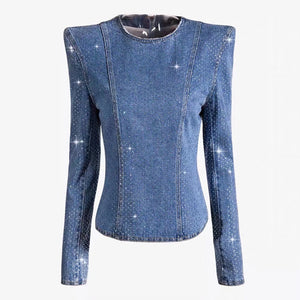 HIGH QUALITY Newest Fashion 2020 Runway Designer Tops Women's Long Sleeve Dimonds Strass Beading Denim Top Shirt - LiveTrendsX