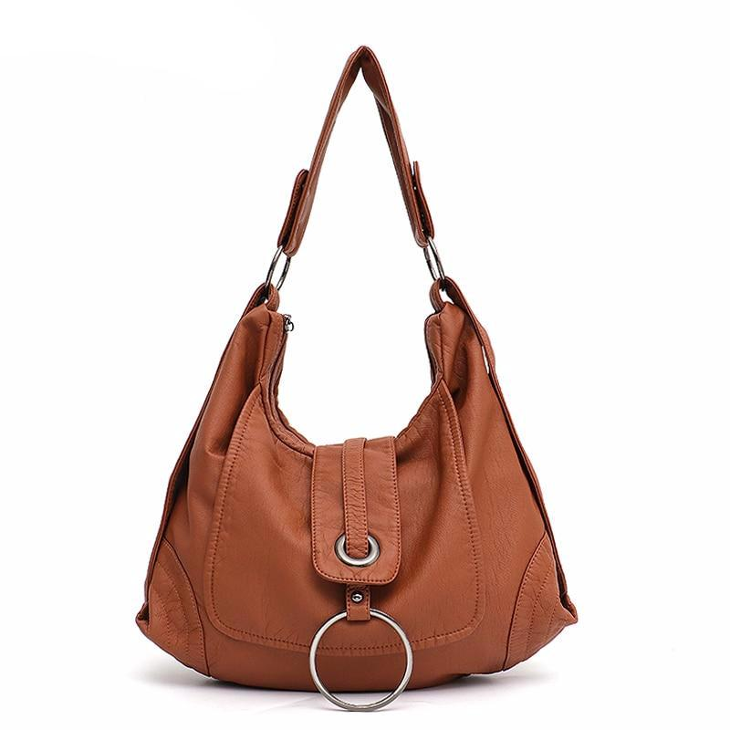 Fashion Vegan Leather Large Hobo Bag Women Washed PU Shoulder Bag Metal Ring Flap Ladies Brand Design Tote Female Handbag - LiveTrendsX