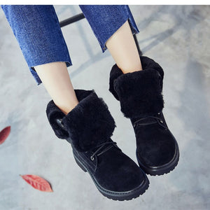 Wedge Shoes Genuine Leather Snow Boots Woman Winter Boots 2019 Winter Women's Shoes Pig Split Ladies Platform Booties - LiveTrendsX
