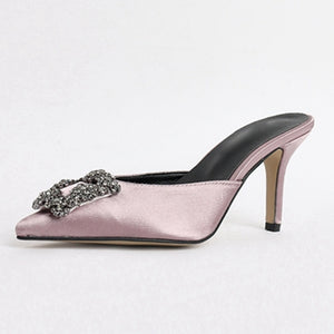Fashion Drill Satin Slippers Women Sexy Pointed Toe Kitten Heel Mules Rhinestone Square Buckle Outwear High Heel Slides Woman - LiveTrendsX