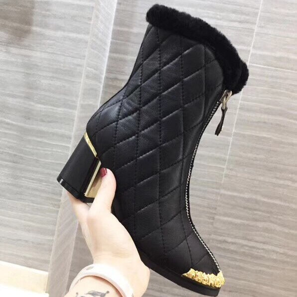 Women Ankle Boots Pointed Toe High Heels Zipper Square Heel Ladies F Short Boots