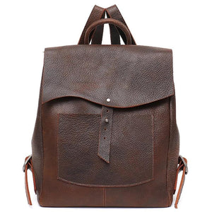 Women Italian Leather Backpack Vintage Retro Style Flap Buckle Large Shoulder Bags School Life Travel Holiday Knapsacks - LiveTrendsX