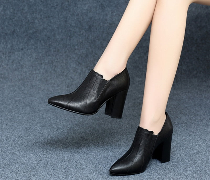 new arrived women High-heeled  boot with fur 8 cm for heel black color - LiveTrendsX