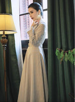 High Quality  Best-selling  Autumn  Winter New Arrival Flower Embroidery  Peter Pan Collar  Plaid Woman Long Dress  With Belt - LiveTrendsX