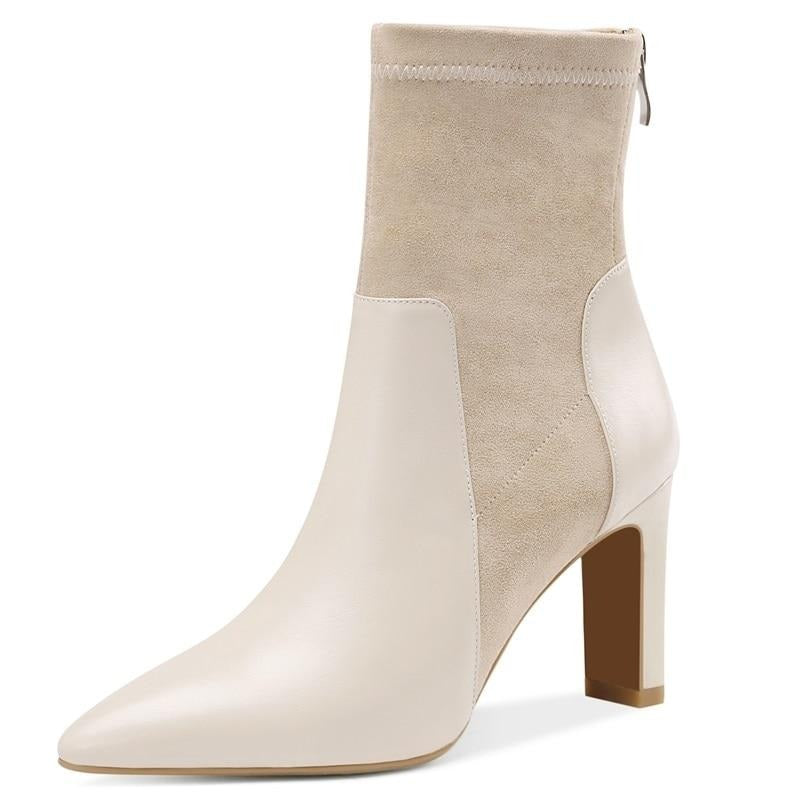 Elegant sexy Flock Cow leather woman Chelsea Booties autumn Winter plush super High heels beige large size women shoes - LiveTrendsX