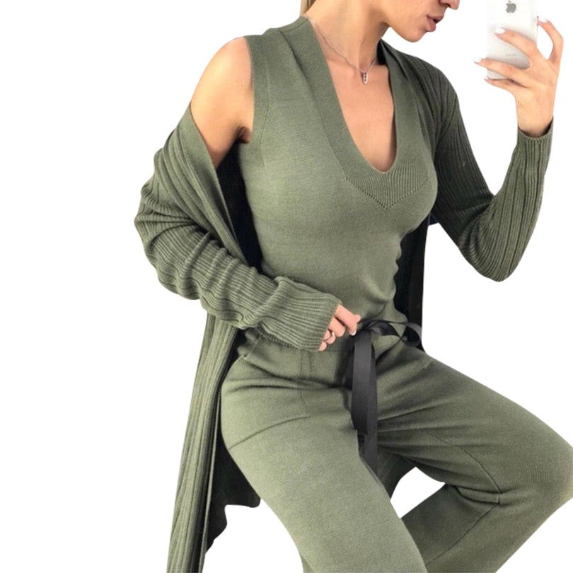 Autumn Knitted 3 Pieces Set Women Long Sleeve Cardigan and Sleeveless Pullover Tops and Pants Suits