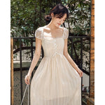 new fashion women's dresses Apricot lace short-sleeved dress French retro - LiveTrendsX