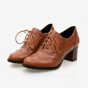 New Autumn Women Shallow Brogue Shoes Vintage Chunky Heel Cut Out Oxford Shoes Lace Up Female Fashion Elegant Ladies Short Boot - LiveTrendsX