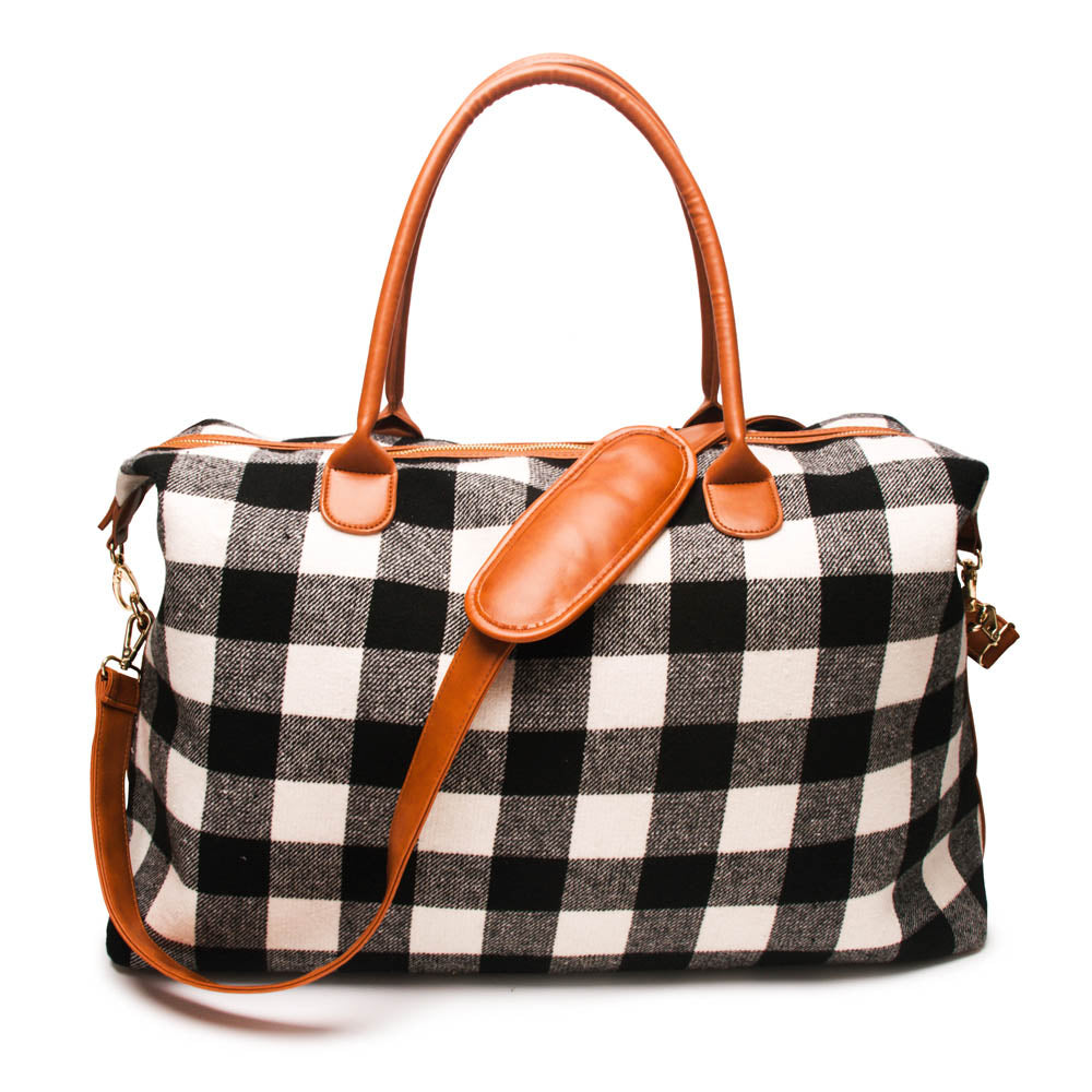 2pcs Lot Flannel Buffalo Plaid Duffle Bag Red Plaid Weekender Bag Large Capacity Overnight Bag - LiveTrendsX