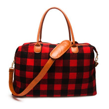 Load image into Gallery viewer, 2pcs Lot Flannel Buffalo Plaid Duffle Bag Red Plaid Weekender Bag Large Capacity Overnight Bag - LiveTrendsX