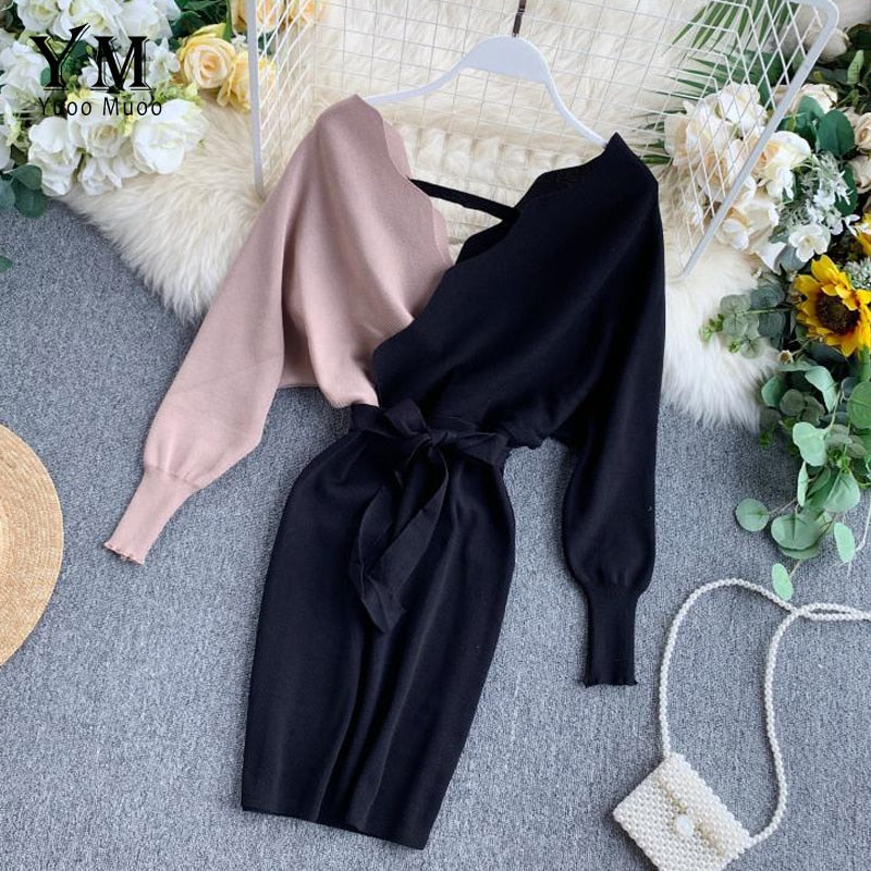 Elegant Sashes V Neck Knit Dress Women 2019 Sexy Backless Autumn Long Sleeve Sweater Dress Ladies Bodycon Short Dress - LiveTrendsX