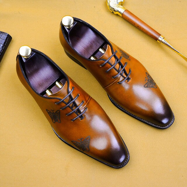 High Grade Men's Shoes Nature Leather Men's Business Foreign Trade Shoes British Bullock Carved Oxford Shoes Size 38-46 - LiveTrendsX