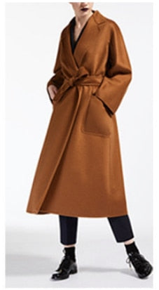 New Style Fashionable Long Coat For Women 100% Cashmere High Quality Warm Female Autumn Trench - LiveTrendsX