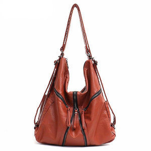 Large Washed PU Women Backpack Girls Functional School Bag Fashion Vegan Leather Shoulder Bags Female Casual Zip knapsack - LiveTrendsX