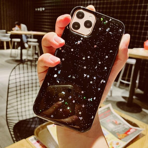 For Apple iPhone 6 6s 7 8 Plus 11 Pro 10 X XS XR Max Bling Glitter Star Moon Sparkle Sequins Soft Clear Silicone TPU Case Cover - LiveTrendsX