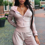 Summer Autumn Two Pieces Set Hoodie Top And Pant Tracksuit Women Set Elastic Waist Leisure 2 Piece Set Women Outfits - LiveTrendsX