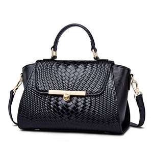 New Fashion Luxury Pattern Women's Real Leather OL Handbags Genuine Leather Ladies Shoulder Bag Business  black Bags - LiveTrendsX
