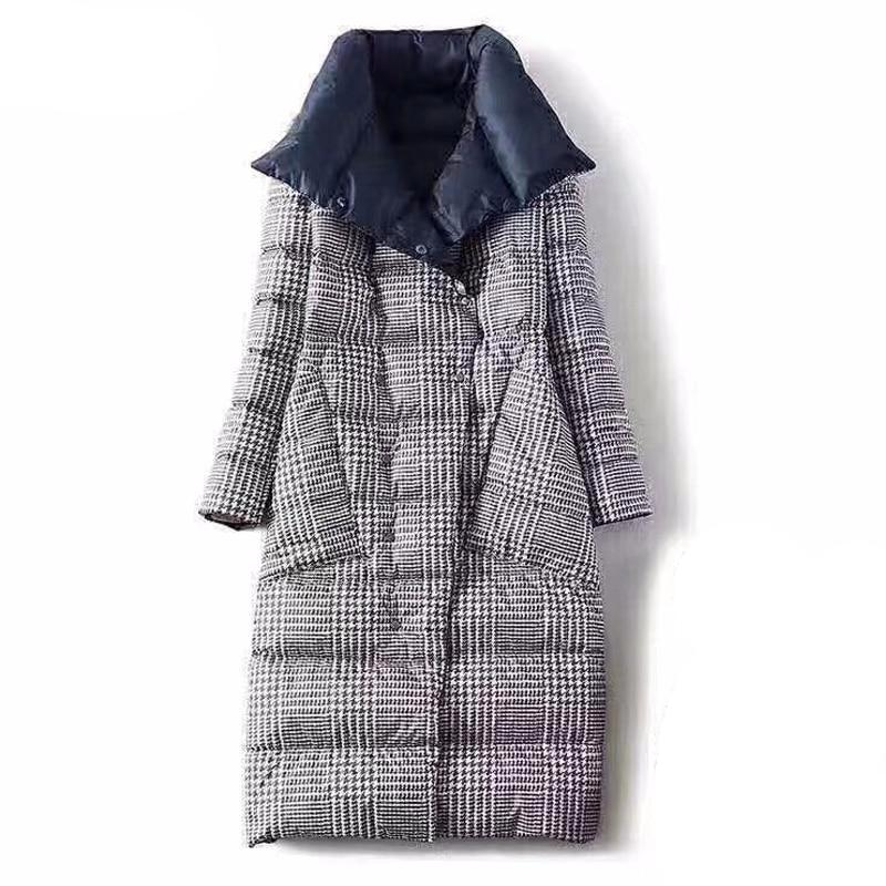 Double Sided Women's Down Jacket Long Winter Turtleneck White Duck Down Coat Female Double Breasted Plus size Warm Plaid Parkas - LiveTrendsX