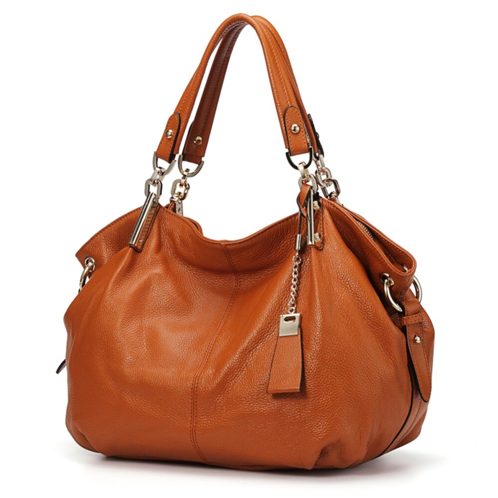 Genuine Leather Hobo handbags for Women 2019 Qiwang Designer Large Shoulder Tote Bags Brown Leather Top-handle Lady Hand Bags - LiveTrendsX
