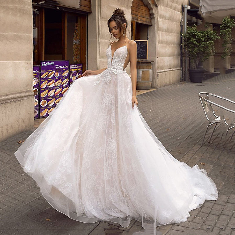A Line Backless Wedding Dress 2019 Sexy Spaghetti Straps Bridal Dress 3D Lace Flowers Fairy Beach Wedding Dresses - LiveTrendsX