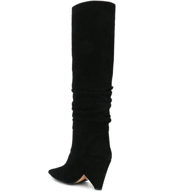 Woman Sexy Black Suede Fold Pointed Toe Slip On Spike Heels Knee High Niki Long Boots Big Size 43 Lad