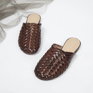 summer new wave leather hand-woven vintage baotou word flat flat bottom outdoor sandals and slippers - LiveTrendsX