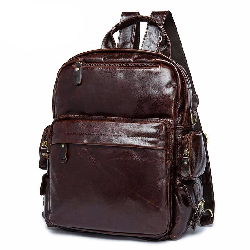New men and women Backpacks retro leather backpack head layer of leather casual shoulder Bag oil wrapped Leather travel Backpack - LiveTrendsX