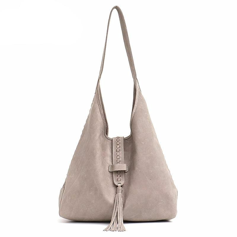 High Quality Cow Leather Shoulder Bag For Women Fashion Tassel Design Ladies Large Hobo Genuine Leather Female Handbags - LiveTrendsX
