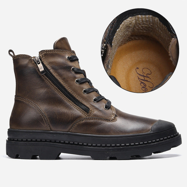 Natural Cow Leather Shoes Men snow Boots Handmade Retro Men warm boots - LiveTrendsX