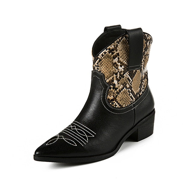 Mixed Colors PU Leather Cowboy Ankle Boots Women Wedge High Heel Booties Snake Print Western Cowgirl Boot 2019 Female - LiveTrendsX