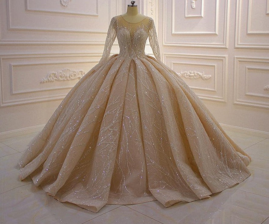 High Quality Full Sleeve Shiny Beads Pleat Beading Champagne Wedding Dress - LiveTrendsX