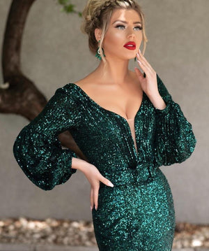 Green Muslim Evening Dresses Long 2020 V-Neck Full Sleeves Sexy Backless Formal Mermaid Evening Gowns