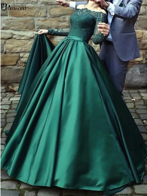 Long Sleeves Lace Emerald Green Evening Dresses 2020 Off the Shoulder Satin Formal Dress Party Ball Gown - LiveTrendsX
