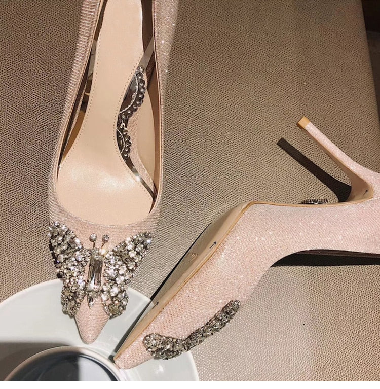 Elegant Wedding Shoe Summer New Style Pointed Toe High Heels Evening Jewel Pumps Women Crystal Stiletto Slip-On Thin Heel