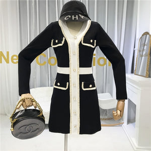 Autumn 2019 New French V-neck and Long Sleeve Knitted Dress  Women Slim Waist Faux Pocket Fashion Outfit - LiveTrendsX