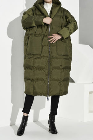 New Winter Hooded Long Sleeve Solid Color Black Cotton-padded Warm Loose Big Size Jacket Women parkas Fashion - LiveTrendsX