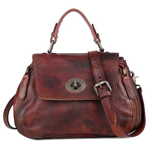 New women genuine leather shoulder bag crossbody brown leather hand bag fashionable luxurious accessories - LiveTrendsX