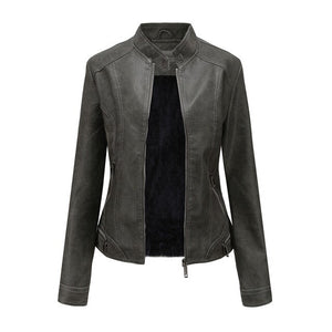vintage matte grey leather jacket women wool inner winter suede stand collar motor biker coat cool girl fashion - LiveTrendsX