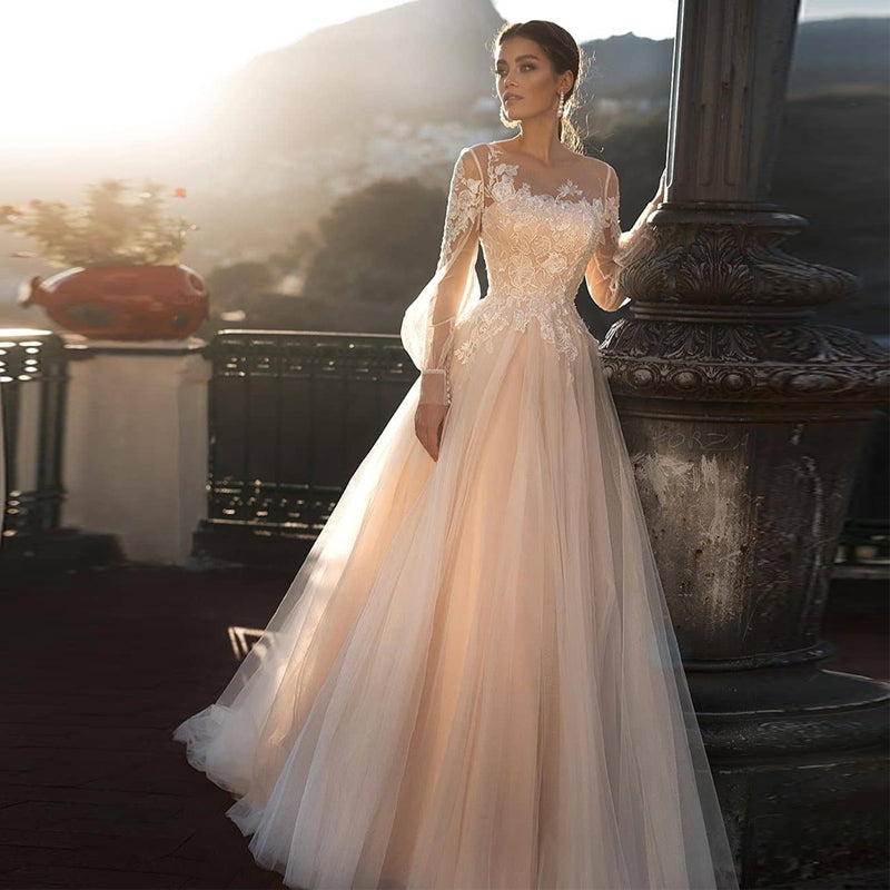 A-line Wedding Dress Light Pink Wedding Gowns Elegant Bride Dress With Long Sleeves Vestidos De Noiva - LiveTrendsX