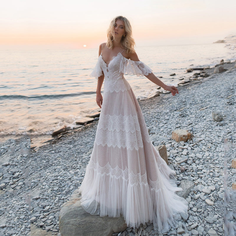Bohemian Wedding Dresses Off Shoulder Lace Appliques Bridal Gowns Sexy Backless Beach A Line Wedding Dress Robe De Mariee - LiveTrendsX