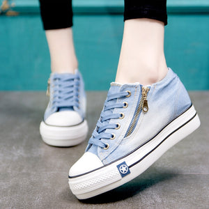 Women Zapatos Mujer 2019 Fashion Women Sneakers Casual Vulcanize Shoes Tenis Feminino Comfy Canvas Shoes Ladies Lace Up Trainers - LiveTrendsX
