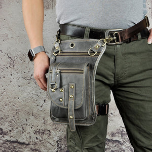 Original Leather Multifunction Men Travel Shoulder Crossbody Messenger Bag Hook Belt Waist Pack Drop Leg Phone Case Bag - LiveTrendsX