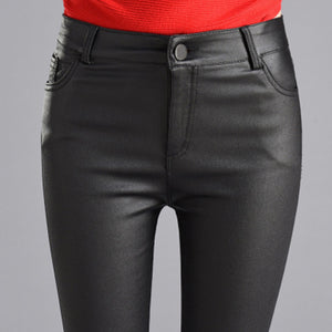 Women Thin Velvet PU Leather Pants 2019 New Female Elastic Stretch Faux Leather Skinny Pencil Pant Tight Trouser Autumn Winter - LiveTrendsX