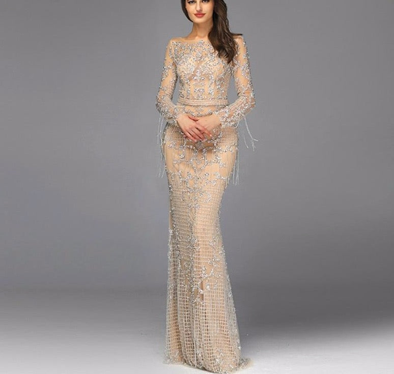 Dubai Luxury Long Sleeve Sparkle Evening Dresses 2020 Sequined Beading Evening Gowns