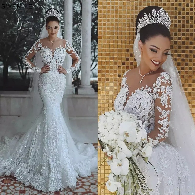 Luxury Dubai Saudi Arabic Lace Mermaid Wedding Dress Sexy Illusion Long Sleeve Bride Dresses Crystals Beads Wedding Gowns - LiveTrendsX