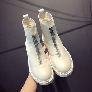 Leather front zip booty women's new cotton padded boots in autumn and winter winter boots women  women boots - LiveTrendsX